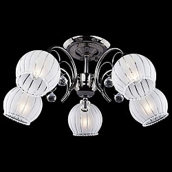 Люстра на штанге Eurosvet5 или 6 ламп<br>Артикул - EV_70080,Бренд - Eurosvet (Китай),Коллекция - 7725,Гарантия, месяцы - 24,Высота, мм - 260,Диаметр, мм - 560,Тип лампы - компактная люминесцентная [КЛЛ] ИЛИнакаливания ИЛИсветодиодная [LED],Общее кол-во ламп - 5,Напряжение питания лампы, В - 220,Максимальная мощность лампы, Вт - 40,Лампы в комплекте - отсутствуют,Цвет плафонов и подвесок - белый полосатый с каймой,Тип поверхности плафонов - матовый, прозрачный,Материал плафонов и подвесок - стекло, хрусталь,Цвет арматуры - черный жемчуг,Тип поверхности арматуры - глянцевый,Материал арматуры - металл,Возможность подлючения диммера - можно, если установить лампу накаливания,Тип цоколя лампы - E14,Класс электробезопасности - I,Общая мощность, Вт - 200,Степень пылевлагозащиты, IP - 20,Диапазон рабочих температур - комнатная температура,Дополнительные параметры - способ крепления светильника к потолку - на монтажной пластине<br>