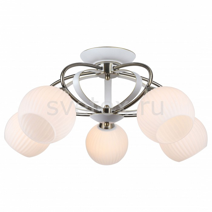 Потолочная люстра Arte LampЛюстры<br>Артикул - AR_A6342PL-5WG,Бренд - Arte Lamp (Италия),Коллекция - Ellisse,Гарантия, месяцы - 24,Высота, мм - 290,Диаметр, мм - 630,Размер упаковки, мм - 460x190x430,Тип лампы - компактная люминесцентная [КЛЛ] ИЛИнакаливания ИЛИсветодиодная [LED],Общее кол-во ламп - 5,Напряжение питания лампы, В - 220,Максимальная мощность лампы, Вт - 60,Лампы в комплекте - отсутствуют,Цвет плафонов и подвесок - белый,Тип поверхности плафонов - матовый, рельефный,Материал плафонов и подвесок - стекло,Цвет арматуры - белый, золото,Тип поверхности арматуры - матовый,Материал арматуры - металл,Количество плафонов - 5,Возможность подлючения диммера - можно, если установить лампу накаливания,Тип цоколя лампы - E27,Класс электробезопасности - I,Общая мощность, Вт - 300,Степень пылевлагозащиты, IP - 20,Диапазон рабочих температур - комнатная температура,Дополнительные параметры - способ крепления светильника к потолку – на монтажной пластине<br>