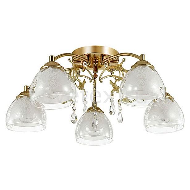 Потолочная люстра LumionЛюстры<br>Артикул - LMN_3072_5C,Бренд - Lumion (Италия),Коллекция - Marlona,Гарантия, месяцы - 24,Высота, мм - 200,Диаметр, мм - 600,Размер упаковки, мм - 410x170x480,Тип лампы - компактная люминесцентная [КЛЛ] ИЛИнакаливания ИЛИсветодиодная [LED],Общее кол-во ламп - 5,Напряжение питания лампы, В - 220,Максимальная мощность лампы, Вт - 40,Лампы в комплекте - отсутствуют,Цвет плафонов и подвесок - белый, неокрашенный с белым рисунком,Тип поверхности плафонов - матовый, прозрачный,Материал плафонов и подвесок - стекло,Цвет арматуры - золото,Тип поверхности арматуры - глянцевый, металлик,Материал арматуры - металл,Количество плафонов - 5,Возможность подлючения диммера - можно, если установить лампу накаливания,Тип цоколя лампы - E14,Класс электробезопасности - I,Общая мощность, Вт - 200,Степень пылевлагозащиты, IP - 20,Диапазон рабочих температур - комнатная температура,Дополнительные параметры - способ крепления к потолку - на монтажной пластине<br>