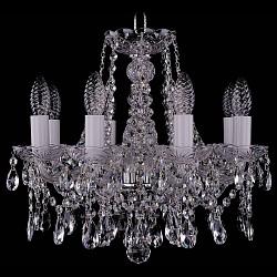 Подвесная люстра Bohemia Ivele CrystalБолее 6 ламп<br>Артикул - BI_1413_8_141_Ni,Бренд - Bohemia Ivele Crystal (Чехия),Коллекция - 1413,Гарантия, месяцы - 12,Высота, мм - 410,Диаметр, мм - 460,Размер упаковки, мм - 450x450x200,Тип лампы - компактная люминесцентная [КЛЛ] ИЛИнакаливания ИЛИсветодиодная [LED],Общее кол-во ламп - 8,Напряжение питания лампы, В - 220,Максимальная мощность лампы, Вт - 40,Лампы в комплекте - отсутствуют,Цвет плафонов и подвесок - неокрашенный,Тип поверхности плафонов - прозрачный,Материал плафонов и подвесок - хрусталь,Цвет арматуры - неокрашенный, никель,Тип поверхности арматуры - глянцевый, прозрачный,Материал арматуры - металл, стекло,Возможность подлючения диммера - можно, если установить лампу накаливания,Форма и тип колбы - свеча ИЛИ свеча на ветру,Тип цоколя лампы - E14,Класс электробезопасности - I,Общая мощность, Вт - 320,Степень пылевлагозащиты, IP - 20,Диапазон рабочих температур - комнатная температура,Дополнительные параметры - способ крепления светильника к потолку – на крюке<br>