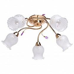 Потолочная люстра De Markt5 или 6 ламп<br>Артикул - MW_670010605,Бренд - De Markt (Германия),Коллекция - Флора,Гарантия, месяцы - 24,Высота, мм - 200,Диаметр, мм - 650,Тип лампы - компактная люминесцентная [КЛЛ] ИЛИнакаливания ИЛИсветодиодная [LED],Общее кол-во ламп - 5,Напряжение питания лампы, В - 220,Максимальная мощность лампы, Вт - 60,Лампы в комплекте - отсутствуют,Цвет плафонов и подвесок - белый с неокрашенным рисунком, сиреневый,Тип поверхности плафонов - матовый, прозрачный,Материал плафонов и подвесок - акрил, стекло,Цвет арматуры - золото,Тип поверхности арматуры - глянцевый,Материал арматуры - металл,Возможность подлючения диммера - можно, если установить лампу накаливания,Тип цоколя лампы - E14,Класс электробезопасности - I,Общая мощность, Вт - 300,Степень пылевлагозащиты, IP - 20,Диапазон рабочих температур - комнатная температура,Дополнительные параметры - способ крепления светильника на потолке - на монтажной пластине<br>