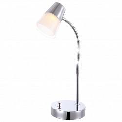 Настольная лампа GloboПолимерные<br>Артикул - GB_56185-1T,Бренд - Globo (Австрия),Коллекция - Teika,Гарантия, месяцы - 24,Высота, мм - 410,Диаметр, мм - 270,Тип лампы - светодиодная [LED],Общее кол-во ламп - 1,Напряжение питания лампы, В - 20,Максимальная мощность лампы, Вт - 3,Лампы в комплекте - светодиодная [LED],Цвет плафонов и подвесок - белый, неокрашенный,Тип поверхности плафонов - матовый, прозрачный,Материал плафонов и подвесок - полимер,Цвет арматуры - хром,Тип поверхности арматуры - глянцевый,Материал арматуры - металл,Класс электробезопасности - II,Степень пылевлагозащиты, IP - 20,Диапазон рабочих температур - комнатная температура,Дополнительные параметры - поворотный светильник<br>
