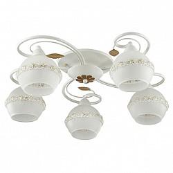 Потолочная люстра Lumion5 или 6 ламп<br>Артикул - LMN_3429_5C,Бренд - Lumion (Италия),Коллекция - Markella,Гарантия, месяцы - 24,Высота, мм - 190,Диаметр, мм - 570,Размер упаковки, мм - 420x520x200,Тип лампы - компактная люминесцентная [КЛЛ] ИЛИнакаливания ИЛИсветодиодная [LED],Общее кол-во ламп - 5,Напряжение питания лампы, В - 220,Максимальная мощность лампы, Вт - 40,Лампы в комплекте - отсутствуют,Цвет плафонов и подвесок - белый с желтым рисунком, золото,Тип поверхности плафонов - глянцевый, матовый,Материал плафонов и подвесок - металл, стекло, тесьма,Цвет арматуры - белый,Тип поверхности арматуры - матовый,Материал арматуры - металл,Возможность подлючения диммера - можно, если установить лампу накаливания,Тип цоколя лампы - E14,Класс электробезопасности - I,Общая мощность, Вт - 200,Степень пылевлагозащиты, IP - 20,Диапазон рабочих температур - комнатная температура,Дополнительные параметры - способ крепления светильника к потолку - на монтажной пластине<br>