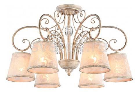 Подвесная люстра FreyaСветильники<br>Артикул - MY_FR406-06-W,Бренд - Freya (Германия),Коллекция - Lorette,Гарантия, месяцы - 24,Высота, мм - 409-1103,Диаметр, мм - 674,Тип лампы - компактная люминесцентная [КЛЛ] ИЛИнакаливания ИЛИсветодиодная  [LED],Общее кол-во ламп - 6,Напряжение питания лампы, В - 220,Максимальная мощность лампы, Вт - 40,Лампы в комплекте - отсутствуют,Цвет плафонов и подвесок - белый с рисунком и каймой, неокрашенный,Тип поверхности плафонов - матовый, прозрачный,Материал плафонов и подвесок - велюр, хрусталь,Цвет арматуры - белый с золотой патиной,Тип поверхности арматуры - глянцевый, матовый,Материал арматуры - металл,Количество плафонов - 6,Возможность подлючения диммера - можно, если установить лампу накаливания,Тип цоколя лампы - E14,Класс электробезопасности - I,Общая мощность, Вт - 240,Степень пылевлагозащиты, IP - 20,Диапазон рабочих температур - комнатная температура,Дополнительные параметры - способ крепления светильника к потолку - на монтажной пластине или крюке, регулируется по высоте, размер плафона 100x150x140 мм<br>