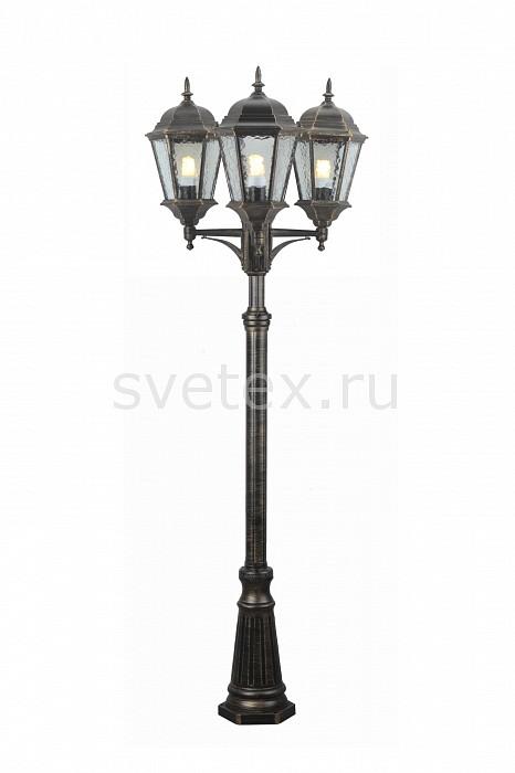 Фонарный столб Arte LampСветильники<br>Артикул - AR_A1207PA-3BN,Бренд - Arte Lamp (Италия),Коллекция - Genova,Гарантия, месяцы - 24,Время изготовления, дней - 1,Высота, мм - 2300,Диаметр, мм - 650,Тип лампы - компактная люминесцентная [КЛЛ] ИЛИнакаливания ИЛИсветодиодная [LED],Общее кол-во ламп - 3,Напряжение питания лампы, В - 220,Максимальная мощность лампы, Вт - 100,Лампы в комплекте - отсутствуют,Цвет плафонов и подвесок - неокрашенный,Тип поверхности плафонов - прозрачный, рельефный,Материал плафонов и подвесок - стекло,Цвет арматуры - черный с золотой патиной,Тип поверхности арматуры - матовый,Материал арматуры - дюралюминий,Количество плафонов - 3,Тип цоколя лампы - E27,Класс электробезопасности - I,Общая мощность, Вт - 300,Степень пылевлагозащиты, IP - 44,Диапазон рабочих температур - от -40^C до +40^C<br>