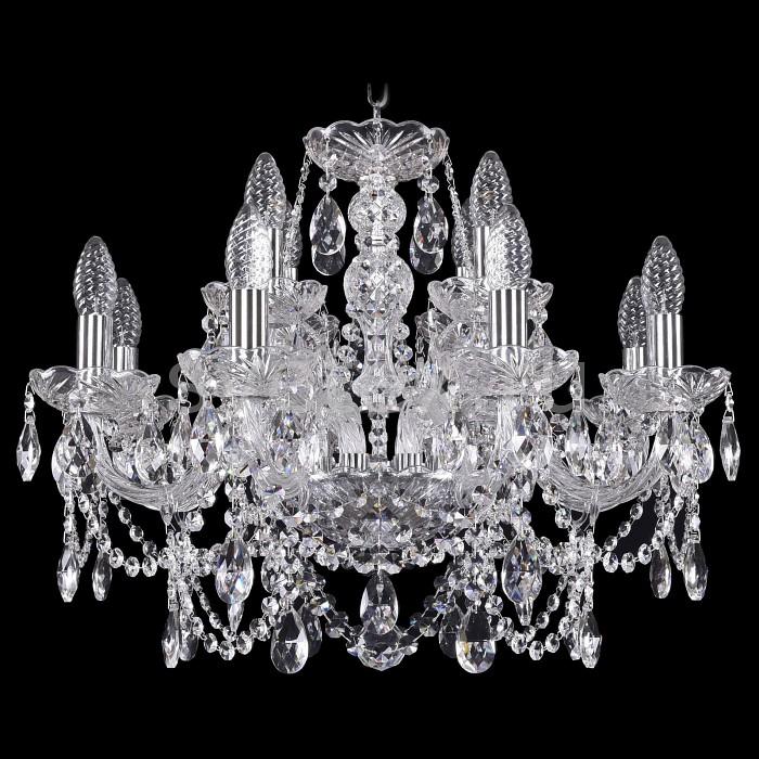 Подвесная люстра Bohemia Ivele CrystalБолее 6 ламп<br>Артикул - BI_1411_8_4_195_Ni,Бренд - Bohemia Ivele Crystal (Чехия),Коллекция - 1411,Гарантия, месяцы - 24,Высота, мм - 510,Диаметр, мм - 570,Размер упаковки, мм - 510x510x200,Тип лампы - компактная люминесцентная [КЛЛ] ИЛИнакаливания ИЛИсветодиодная [LED],Общее кол-во ламп - 12,Напряжение питания лампы, В - 220,Максимальная мощность лампы, Вт - 40,Лампы в комплекте - отсутствуют,Цвет плафонов и подвесок - неокрашенный,Тип поверхности плафонов - прозрачный,Материал плафонов и подвесок - хрусталь,Цвет арматуры - никель, неокрашенный,Тип поверхности арматуры - матовый, прозрачный,Материал арматуры - металл, стекло,Возможность подлючения диммера - можно, если установить лампу накаливания,Форма и тип колбы - свеча ИЛИ свеча на ветру,Тип цоколя лампы - E14,Класс электробезопасности - I,Общая мощность, Вт - 480,Степень пылевлагозащиты, IP - 20,Диапазон рабочих температур - комнатная температура,Дополнительные параметры - способ крепления светильника к потолку - на крюке, указана высота светильники без подвеса<br>