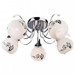 Потолочная люстра Eurosvet5 или 6 ламп<br>Артикул - EV_71511,Бренд - Eurosvet (Китай),Коллекция - 30020,Гарантия, месяцы - 24,Высота, мм - 210,Диаметр, мм - 500,Тип лампы - компактная люминесцентная [КЛЛ] ИЛИнакаливания ИЛИсветодиодная [LED],Общее кол-во ламп - 5,Напряжение питания лампы, В - 220,Максимальная мощность лампы, Вт - 60,Лампы в комплекте - отсутствуют,Цвет плафонов и подвесок - белый с черныйм рисунком,Тип поверхности плафонов - матовый,Материал плафонов и подвесок - стекло,Цвет арматуры - хром,Тип поверхности арматуры - глянцевый,Материал арматуры - металл,Возможность подлючения диммера - можно, если установить лампу накаливания,Тип цоколя лампы - E27,Класс электробезопасности - I,Общая мощность, Вт - 300,Степень пылевлагозащиты, IP - 20,Диапазон рабочих температур - комнатная температура,Дополнительные параметры - способ крепления светильника к потолку - на монтажной пластине<br>