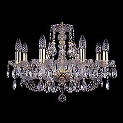 Подвесная люстра Bohemia Ivele CrystalБолее 6 ламп<br>Артикул - BI_1406_8_195,Бренд - Bohemia Ivele Crystal (Чехия),Коллекция - 1406,Гарантия, месяцы - 24,Высота, мм - 410,Диаметр, мм - 580,Размер упаковки, мм - 450x450x200,Тип лампы - компактная люминесцентная [КЛЛ] ИЛИнакаливания ИЛИсветодиодная [LED],Общее кол-во ламп - 8,Напряжение питания лампы, В - 220,Максимальная мощность лампы, Вт - 40,Лампы в комплекте - отсутствуют,Цвет плафонов и подвесок - неокрашенный,Тип поверхности плафонов - прозрачный,Материал плафонов и подвесок - хрусталь,Цвет арматуры - золото, неокрашенный,Тип поверхности арматуры - глянцевый, прозрачный,Материал арматуры - металл, стекло,Возможность подлючения диммера - можно, если установить лампу накаливания,Форма и тип колбы - свеча,Тип цоколя лампы - E14,Класс электробезопасности - I,Общая мощность, Вт - 320,Степень пылевлагозащиты, IP - 20,Диапазон рабочих температур - комнатная температура,Дополнительные параметры - способ крепления светильника к потолку – на крюке<br>