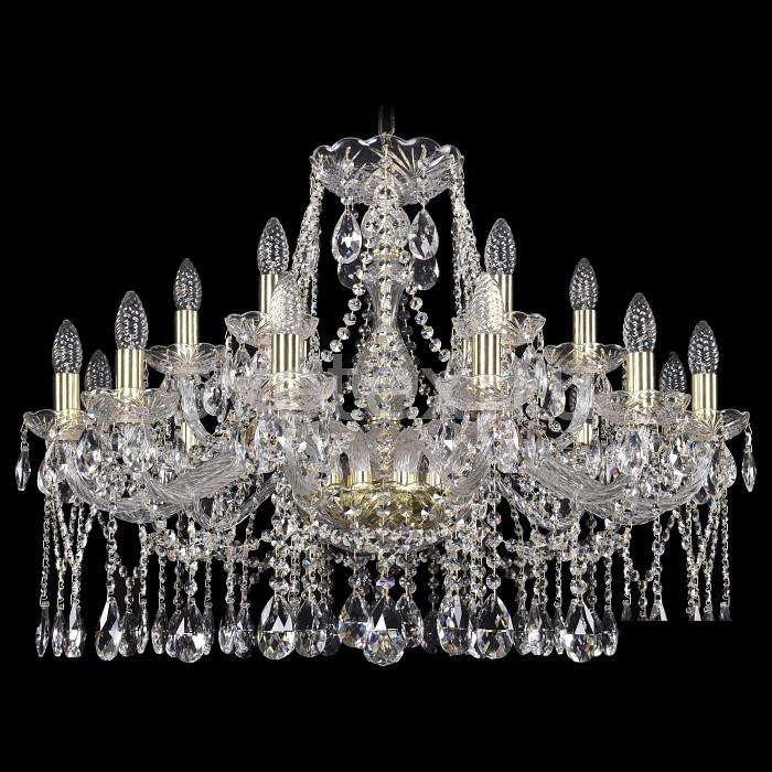 Подвесная люстра Bohemia Ivele CrystalБолее 6 ламп<br>Артикул - BI_1413_12_6_300_G,Бренд - Bohemia Ivele Crystal (Чехия),Коллекция - 1413,Гарантия, месяцы - 24,Высота, мм - 550,Диаметр, мм - 810,Размер упаковки, мм - 710x710x350,Тип лампы - компактная люминесцентная [КЛЛ] ИЛИнакаливания ИЛИсветодиодная [LED],Общее кол-во ламп - 18,Напряжение питания лампы, В - 220,Максимальная мощность лампы, Вт - 40,Лампы в комплекте - отсутствуют,Цвет плафонов и подвесок - неокрашенный,Тип поверхности плафонов - прозрачный,Материал плафонов и подвесок - хрусталь,Цвет арматуры - золото, неокрашенный,Тип поверхности арматуры - глянцевый, прозрачный,Материал арматуры - металл, стекло,Возможность подлючения диммера - можно, если установить лампу накаливания,Форма и тип колбы - свеча ИЛИ свеча на ветру,Тип цоколя лампы - E14,Класс электробезопасности - I,Общая мощность, Вт - 720,Степень пылевлагозащиты, IP - 20,Диапазон рабочих температур - комнатная температура,Дополнительные параметры - способ крепления светильника к потолку - на крюке, указана высота светильники без подвеса<br>