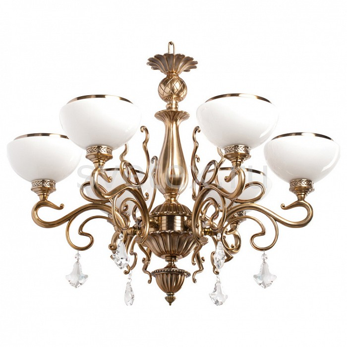 Подвесная люстра ChiaroХРУСТАЛЬНЫЕ светильники<br>Артикул - CH_481010506,Бренд - Chiaro (Германия),Коллекция - Аманда,Гарантия, месяцы - 24,Время изготовления, дней - 1,Высота, мм - 980,Диаметр, мм - 730,Тип лампы - компактная люминесцентная [КЛЛ] ИЛИнакаливания ИЛИсветодиодная [LED],Общее кол-во ламп - 6,Напряжение питания лампы, В - 220,Максимальная мощность лампы, Вт - 60,Лампы в комплекте - отсутствуют,Цвет плафонов и подвесок - белый с золотой каймой, неокрашенный,Тип поверхности плафонов - матовый,Материал плафонов и подвесок - стекло, хрусталь,Цвет арматуры - медовая латунь,Тип поверхности арматуры - глянцевый,Материал арматуры - металл,Количество плафонов - 6,Возможность подлючения диммера - можно, если установить лампу накаливания,Тип цоколя лампы - E27,Класс электробезопасности - I,Общая мощность, Вт - 360,Степень пылевлагозащиты, IP - 20,Диапазон рабочих температур - комнатная температура,Дополнительные параметры - указана высота светильника без подвеса<br>
