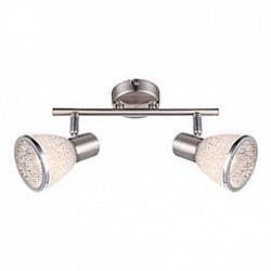 Спот GloboС 2 лампами<br>Артикул - GB_56041-2,Бренд - Globo (Австрия),Коллекция - Rachel,Гарантия, месяцы - 24,Размер упаковки, мм - 135x90x300,Тип лампы - светодиодная [LED],Общее кол-во ламп - 2,Напряжение питания лампы, В - 220,Максимальная мощность лампы, Вт - 4,Лампы в комплекте - светодиодные [LED] E14,Цвет плафонов и подвесок - неокрашенный с каймой,Тип поверхности плафонов - матовый, прозрачный,Материал плафонов и подвесок - акрил,Цвет арматуры - никель, хром,Тип поверхности арматуры - сатин,Материал арматуры - металл,Возможность подлючения диммера - нельзя,Тип цоколя лампы - E14,Класс электробезопасности - I,Общая мощность, Вт - 8,Степень пылевлагозащиты, IP - 20,Диапазон рабочих температур - комнатная температура,Дополнительные параметры - способ крепления светильника к стене и потолку - на монтажной пластине, поворотный светильник<br>