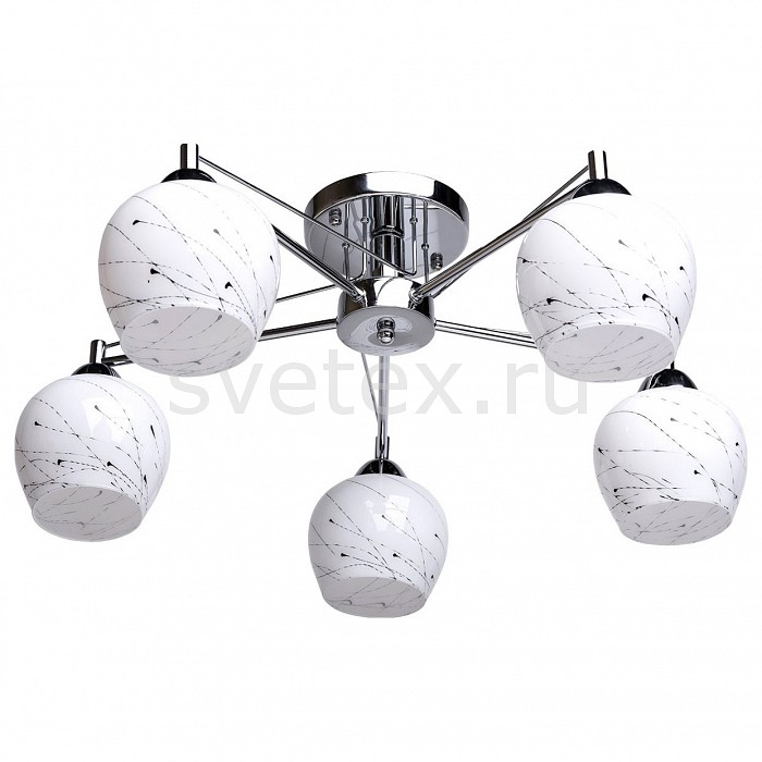 Потолочная люстра De MarktЛюстры<br>Артикул - MW_358018205,Бренд - De Markt (Германия),Коллекция - Грация 11,Гарантия, месяцы - 24,Высота, мм - 250,Диаметр, мм - 600,Тип лампы - компактная люминесцентная [КЛЛ] ИЛИнакаливания ИЛИсветодиодная [LED],Общее кол-во ламп - 5,Напряжение питания лампы, В - 220,Максимальная мощность лампы, Вт - 60,Лампы в комплекте - отсутствуют,Цвет плафонов и подвесок - белый с рисунком,Тип поверхности плафонов - глянцевый,Материал плафонов и подвесок - стекло,Цвет арматуры - хром,Тип поверхности арматуры - глянцевый,Материал арматуры - металл,Количество плафонов - 5,Возможность подлючения диммера - можно, если установить лампу накаливания,Тип цоколя лампы - E27,Класс электробезопасности - I,Общая мощность, Вт - 300,Степень пылевлагозащиты, IP - 20,Диапазон рабочих температур - комнатная температура,Дополнительные параметры - способ крепления светильника на потолке - на монтажной пластине<br>