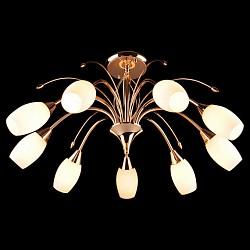 Люстра на штанге 22080/9 золотоБолее 6 ламп<br>Артикул - EV_5132,Бренд - Eurosvet (Китай),Коллекция - 22080,Высота, мм - 370,Диаметр, мм - 700,Тип лампы - компактная люминесцентная (КЛЛ) ИЛИнакаливания ИЛИсветодиодная (LED),Общее кол-во ламп - 9,Напряжение питания лампы, В - 220,Максимальная мощность лампы, Вт - 60,Лампы в комплекте - отсутствуют,Цвет плафонов и подвесок - белый,Тип поверхности плафонов - матовый,Материал плафонов и подвесок - стекло,Цвет арматуры - золото,Тип поверхности арматуры - глянцевый,Материал арматуры - металл,Тип цоколя лампы - E14,Класс электробезопасности - I,Общая мощность, Вт - 540,Степень пылевлагозащиты, IP - 20,Диапазон рабочих температур - комнатная температура<br>