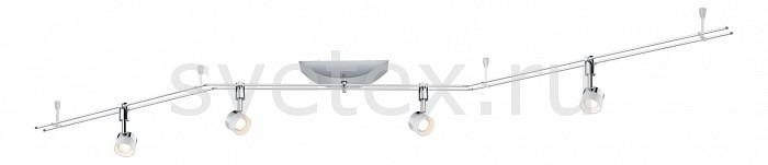 Комплект PaulmannСветильники<br>Артикул - PA_95077,Бренд - Paulmann (Германия),Коллекция - Stage,Гарантия, месяцы - 24,Длина, мм - 2100,Ширина, мм - 30,Тип лампы - светодиодные [LED],Общее кол-во ламп - 4,Напряжение питания лампы, В - 220,Максимальная мощность лампы, Вт - 5,Цвет лампы - белый теплый,Лампы в комплекте - светодиодные [LED],Цвет плафонов и подвесок - белый,Тип поверхности плафонов - матовый,Материал плафонов и подвесок - полимер,Цвет арматуры - хром,Тип поверхности арматуры - глянцевый,Материал арматуры - металл,Количество плафонов - 4,Возможность подлючения диммера - нельзя,Цветовая температура, K - 2700 K,Световой поток, лм - 1200,Экономичнее лампы накаливания - в 6.8 раза,Светоотдача, лм/Вт - 60,Класс электробезопасности - I,Общая мощность, Вт - 20,Степень пылевлагозащиты, IP - 20,Диапазон рабочих температур - комнатная температура,Дополнительные параметры - поворотные светильники<br>