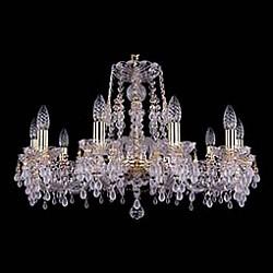 Подвесная люстра Bohemia Ivele CrystalБолее 6 ламп<br>Артикул - BI_1410_10_240_G_V0300,Бренд - Bohemia Ivele Crystal (Чехия),Коллекция - 1410,Гарантия, месяцы - 24,Высота, мм - 460,Диаметр, мм - 700,Размер упаковки, мм - 510x510x200,Тип лампы - компактная люминесцентная [КЛЛ] ИЛИнакаливания ИЛИсветодиодная [LED],Общее кол-во ламп - 10,Напряжение питания лампы, В - 220,Максимальная мощность лампы, Вт - 40,Лампы в комплекте - отсутствуют,Цвет плафонов и подвесок - белый, неокрашенный,Тип поверхности плафонов - матовый, прозрачный,Материал плафонов и подвесок - хрусталь,Цвет арматуры - золото, неокрашенный,Тип поверхности арматуры - глянцевый, прозрачный, рельефный,Материал арматуры - металл, стекло,Возможность подлючения диммера - можно, если установить лампу накаливания,Форма и тип колбы - свеча ИЛИ свеча на ветру,Тип цоколя лампы - E14,Класс электробезопасности - I,Общая мощность, Вт - 400,Степень пылевлагозащиты, IP - 20,Диапазон рабочих температур - комнатная температура,Дополнительные параметры - способ крепления светильника к потолку - на крюке, указана высота светильника без подвеса<br>