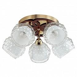 Спот LumionБолее 4 ламп<br>Артикул - LMN_3057_5C,Бренд - Lumion (Италия),Коллекция - Federro,Гарантия, месяцы - 24,Диаметр, мм - 480,Размер упаковки, мм - 180x370x550,Тип лампы - компактная люминесцентная [КЛЛ] ИЛИнакаливания ИЛИсветодиодная [LED],Общее кол-во ламп - 5,Напряжение питания лампы, В - 220,Максимальная мощность лампы, Вт - 60,Лампы в комплекте - отсутствуют,Цвет плафонов и подвесок - белый, неокрашенный,Тип поверхности плафонов - матовый, прозрачный, рельефный,Материал плафонов и подвесок - стекло,Цвет арматуры - золото, коричневый,Тип поверхности арматуры - матовый, металлик,Материал арматуры - металл,Возможность подлючения диммера - можно, если установить лампу накаливания,Тип цоколя лампы - E14,Класс электробезопасности - I,Общая мощность, Вт - 300,Степень пылевлагозащиты, IP - 20,Диапазон рабочих температур - комнатная температура,Дополнительные параметры - способ крепления к потолку и стене - на монтажной пластине, поворотный светильник<br>