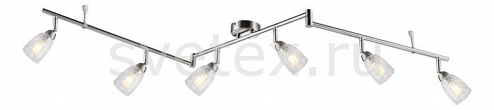Спот GloboСпоты<br>Артикул - GB_56023-6,Бренд - Globo (Австрия),Коллекция - Crash,Гарантия, месяцы - 24,Длина, мм - 1450,Ширина, мм - 85,Выступ, мм - 140,Размер упаковки, мм - 180x100x550,Тип лампы - светодиодная [LED],Общее кол-во ламп - 6,Напряжение питания лампы, В - 220,Максимальная мощность лампы, Вт - 3,Цвет лампы - белый теплый,Лампы в комплекте - светодиодные [LED] G9,Цвет плафонов и подвесок - неокрашенный,Тип поверхности плафонов - прозрачный,Материал плафонов и подвесок - стекло,Цвет арматуры - никель, хром,Тип поверхности арматуры - глянцевый, сатин,Материал арматуры - металл,Количество плафонов - 6,Возможность подлючения диммера - нельзя,Форма и тип колбы - пальчиковая,Тип цоколя лампы - G9,Цветовая температура, K - 3000 K,Световой поток, лм - 1680,Экономичнее лампы накаливания - в 10.7 раза,Светоотдача, лм/Вт - 93,Класс электробезопасности - I,Общая мощность, Вт - 18,Степень пылевлагозащиты, IP - 20,Диапазон рабочих температур - комнатная температура,Дополнительные параметры - способ крепления светильника к стене и потолку - на монтажной пластине, поворотный светильник<br>
