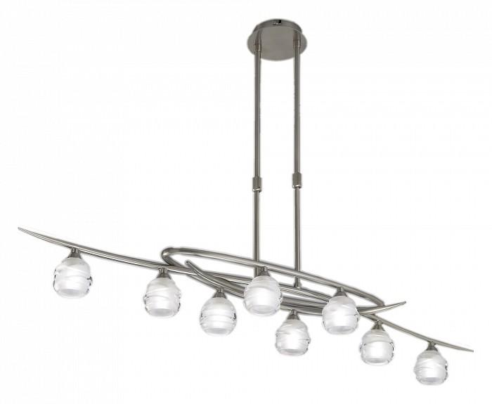 Люстра на штанге MantraЛюстры<br>Артикул - MN_1810,Бренд - Mantra (Испания),Коллекция - Loop,Гарантия, месяцы - 24,Время изготовления, дней - 1,Длина, мм - 1000,Ширина, мм - 240,Высота, мм - 470-700,Тип лампы - галогеновая,Общее кол-во ламп - 8,Напряжение питания лампы, В - 220,Максимальная мощность лампы, Вт - 33,Цвет лампы - белый теплый,Лампы в комплекте - галогеновые G9,Цвет плафонов и подвесок - неокрашенный,Тип поверхности плафонов - матовый,Материал плафонов и подвесок - стекло,Цвет арматуры - никель,Тип поверхности арматуры - сатин,Материал арматуры - металл,Количество плафонов - 8,Возможность подлючения диммера - можно,Форма и тип колбы - пальчиковая,Тип цоколя лампы - G9,Цветовая температура, K - 2800 - 3200 K,Экономичнее лампы накаливания - на 50%,Класс электробезопасности - I,Общая мощность, Вт - 264,Степень пылевлагозащиты, IP - 20,Диапазон рабочих температур - комнатная температура<br>