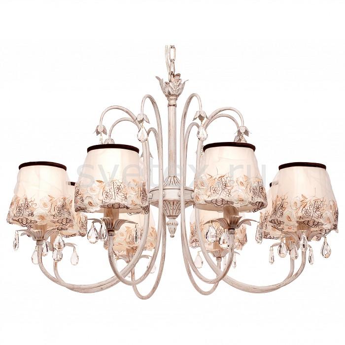 Подвесная люстра SilverLightСветильники<br>Артикул - SL_718.51.8,Бренд - SilverLight (Франция),Коллекция - Laura,Гарантия, месяцы - 24,Высота, мм - 480,Диаметр, мм - 740,Тип лампы - компактная люминесцентная [КЛЛ] ИЛИнакаливания ИЛИсветодиодная [LED],Общее кол-во ламп - 8,Напряжение питания лампы, В - 220,Максимальная мощность лампы, Вт - 60,Лампы в комплекте - отсутствуют,Цвет плафонов и подвесок - бежевый с рисунком, неокрашенный,Тип поверхности плафонов - матовый, прозрачный,Материал плафонов и подвесок - текстиль, хрусталь,Цвет арматуры - белый с золотой патиной,Тип поверхности арматуры - матовый,Материал арматуры - металл,Количество плафонов - 8,Возможность подлючения диммера - можно, если установить лампу накаливания,Тип цоколя лампы - E14,Класс электробезопасности - I,Общая мощность, Вт - 480,Степень пылевлагозащиты, IP - 20,Диапазон рабочих температур - комнатная температура,Дополнительные параметры - способ крепления светильника на потолке - на крюке, регулируется по высоте<br>