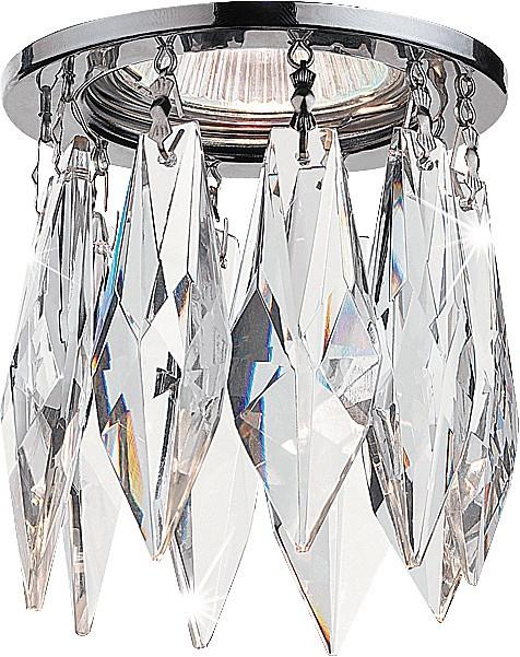 Встраиваемый светильник NovotechВстраиваемые светильники<br>Артикул - NV_369259,Бренд - Novotech (Венгрия),Коллекция - Linn,Гарантия, месяцы - 24,Время изготовления, дней - 1,Глубина, мм - 30,Диаметр, мм - 80,Размер врезного отверстия, мм - 55,Тип лампы - галогеновая ИЛИсветодиодная [LED],Общее кол-во ламп - 1,Напряжение питания лампы, В - 12,Максимальная мощность лампы, Вт - 50,Лампы в комплекте - отсутствуют,Цвет плафонов и подвесок - неокрашенный,Тип поверхности плафонов - прозрачный,Материал плафонов и подвесок - хрусталь,Цвет арматуры - хром,Тип поверхности арматуры - глянцевый,Материал арматуры - алюминиевое литье,Возможность подлючения диммера - можно, если установить галогеновую лампу,Форма и тип колбы - полусферическая с рефлектором ИЛИполусферическая с радиатором,Тип цоколя лампы - GX5.3,Экономичнее лампы накаливания - на 50%,Класс электробезопасности - III,Напряжение питания, В - 220,Степень пылевлагозащиты, IP - 20,Диапазон рабочих температур - комнатная температура,Дополнительные параметры - возможна установка лампы GX5.3 (MR-16) на 12 В с подключением через трансформатор 12 В<br>