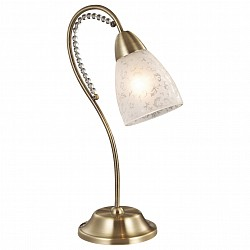 Настольная лампа Odeon LightНастольные лампы<br>Артикул - OD_2541_1T,Бренд - Odeon Light (Италия),Коллекция - Mariot,Гарантия, месяцы - 24,Высота, мм - 380,Диаметр, мм - 130,Тип лампы - компактная люминесцентная [КЛЛ] ИЛИнакаливания ИЛИсветодиодная [LED],Общее кол-во ламп - 1,Напряжение питания лампы, В - 220,Максимальная мощность лампы, Вт - 40,Лампы в комплекте - отсутствуют,Цвет плафонов и подвесок - неокрашенный с рисунком, неокрашенный,Тип поверхности плафонов - матовый,Материал плафонов и подвесок - стекло, хрусталь,Цвет арматуры - бронза,Тип поверхности арматуры - глянцевый, рельефный,Материал арматуры - металл,Тип цоколя лампы - E14,Класс электробезопасности - II,Степень пылевлагозащиты, IP - 20,Диапазон рабочих температур - комнатная температура<br>