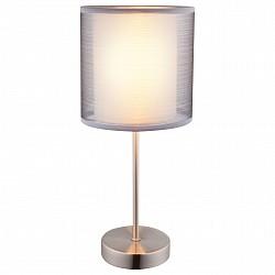 Настольная лампа декоративная GloboС абажуром<br>Артикул - GB_15190T,Бренд - Globo (Австрия),Коллекция - Theo,Гарантия, месяцы - 24,Высота, мм - 350,Диаметр, мм - 150,Тип лампы - компактная люминесцентная [КЛЛ] ИЛИнакаливания ИЛИсветодиодная [LED],Общее кол-во ламп - 1,Напряжение питания лампы, В - 220,Максимальная мощность лампы, Вт - 40,Лампы в комплекте - отсутствуют,Цвет плафонов и подвесок - белый, неокрашенный,Тип поверхности плафонов - матовый, прозрачный,Материал плафонов и подвесок - полимер, текстиль,Цвет арматуры - никель,Тип поверхности арматуры - матовый,Материал арматуры - металл,Тип цоколя лампы - E14,Класс электробезопасности - II,Степень пылевлагозащиты, IP - 20,Диапазон рабочих температур - комнатная температура<br>