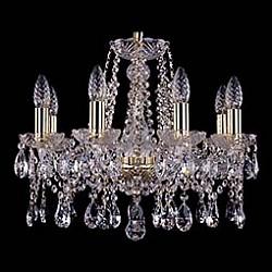 Подвесная люстра Bohemia Ivele CrystalБолее 6 ламп<br>Артикул - BI_1413_8_165,Бренд - Bohemia Ivele Crystal (Чехия),Коллекция - 1413,Гарантия, месяцы - 12,Высота, мм - 410,Диаметр, мм - 510,Размер упаковки, мм - 450x450x200,Тип лампы - компактная люминесцентная [КЛЛ] ИЛИнакаливания ИЛИсветодиодная [LED],Общее кол-во ламп - 8,Напряжение питания лампы, В - 220,Максимальная мощность лампы, Вт - 40,Лампы в комплекте - отсутствуют,Цвет плафонов и подвесок - неокрашенный,Тип поверхности плафонов - прозрачный,Материал плафонов и подвесок - хрусталь,Цвет арматуры - золото, неокрашенный,Тип поверхности арматуры - глянцевый, прозрачный,Материал арматуры - металл, стекло,Возможность подлючения диммера - можно, если установить лампу накаливания,Форма и тип колбы - свеча ИЛИ свеча на ветру,Тип цоколя лампы - E14,Класс электробезопасности - I,Общая мощность, Вт - 320,Степень пылевлагозащиты, IP - 20,Диапазон рабочих температур - комнатная температура,Дополнительные параметры - способ крепления светильника к потолку – на крюке<br>