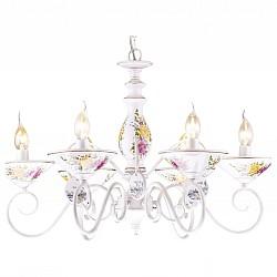 Подвесная люстра Arte LampПолимерные плафоны<br>Артикул - AR_A2061LM-6WG,Бренд - Arte Lamp (Италия),Коллекция - Fiorato,Время изготовления, дней - 1,Высота, мм - 450-950,Диаметр, мм - 650,Тип лампы - компактная люминесцентная [КЛЛ] ИЛИнакаливания ИЛИсветодиодная [LED],Общее кол-во ламп - 6,Напряжение питания лампы, В - 220,Максимальная мощность лампы, Вт - 60,Лампы в комплекте - отсутствуют,Цвет плафонов и подвесок - белый с цветным рисунком,Тип поверхности плафонов - матовый,Материал плафонов и подвесок - керамика,Цвет арматуры - белый, белый с цветным рисунком, золото,Тип поверхности арматуры - глянцевый,Материал арматуры - керамика, металл,Возможность подлючения диммера - можно, если установить лампу накаливания,Форма и тип колбы - свеча ИЛИ свеча на ветру,Тип цоколя лампы - E14,Класс электробезопасности - I,Общая мощность, Вт - 360,Степень пылевлагозащиты, IP - 20,Диапазон рабочих температур - комнатная температура,Дополнительные параметры - способ крепления светильника к потолку – на монтажной пластине или крюке<br>