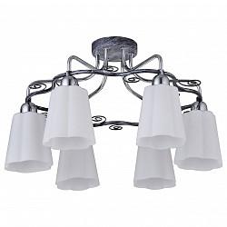 Потолочная люстра IDLamp5 или 6 ламп<br>Артикул - ID_847_6PF-Blueglow,Бренд - IDLamp (Италия),Коллекция - 847,Гарантия, месяцы - 24,Высота, мм - 300,Диаметр, мм - 540,Тип лампы - компактная люминесцентная [КЛЛ] ИЛИнакаливания ИЛИсветодиодная [LED],Общее кол-во ламп - 6,Напряжение питания лампы, В - 220,Максимальная мощность лампы, Вт - 40,Лампы в комплекте - отсутствуют,Цвет плафонов и подвесок - белый,Тип поверхности плафонов - матовый, рельефный,Материал плафонов и подвесок - стекло,Цвет арматуры - голубой металл,Тип поверхности арматуры - глянцевый,Материал арматуры - металл,Возможность подлючения диммера - можно, если установить лампу накаливания,Тип цоколя лампы - E14,Общая мощность, Вт - 240,Степень пылевлагозащиты, IP - 20,Диапазон рабочих температур - комнатная температура<br>