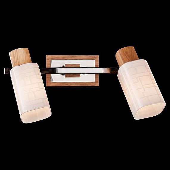 Спот EurosvetС 2 лампами<br>Артикул - EV_73771,Бренд - Eurosvet (Китай),Коллекция - 20029,Гарантия, месяцы - 24,Длина, мм - 300,Ширина, мм - 170,Выступ, мм - 150,Тип лампы - компактная люминесцентная [КЛЛ] ИЛИнакаливания ИЛИсветодиодная [LED],Общее кол-во ламп - 2,Напряжение питания лампы, В - 220,Максимальная мощность лампы, Вт - 40,Лампы в комплекте - отсутствуют,Цвет плафонов и подвесок - белый с рисунком,Тип поверхности плафонов - матовый,Материал плафонов и подвесок - стекло,Цвет арматуры - светлое дерево, хром,Тип поверхности арматуры - глянцевый, матовый,Материал арматуры - дерево, металл,Количество плафонов - 2,Возможность подлючения диммера - можно, если установить лампу накаливания,Тип цоколя лампы - E14,Класс электробезопасности - I,Общая мощность, Вт - 80,Степень пылевлагозащиты, IP - 20,Диапазон рабочих температур - комнатная температура,Дополнительные параметры - способ крепления к потолку и стене - на монтажной пластине, поворотный светильник<br>