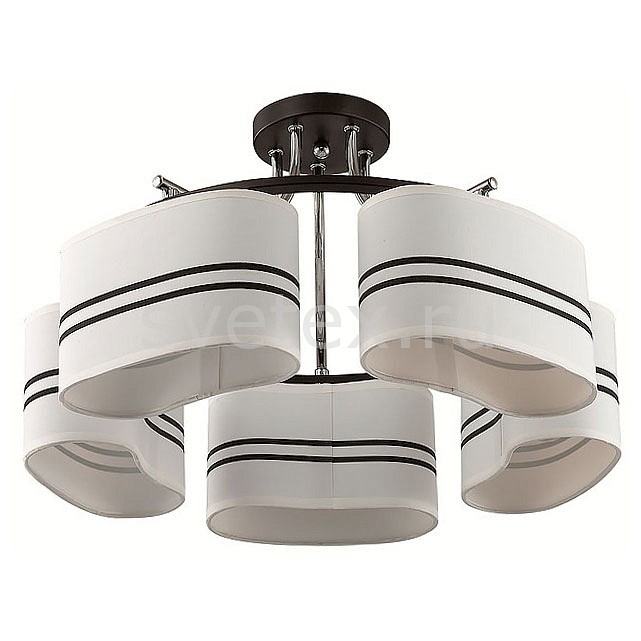 Потолочная люстра LumionСветильники<br>Артикул - LMN_3056_5C,Бренд - Lumion (Италия),Коллекция - Ivara,Гарантия, месяцы - 24,Высота, мм - 300,Диаметр, мм - 510,Размер упаковки, мм - 180x430x430,Тип лампы - компактная люминесцентная [КЛЛ] ИЛИнакаливания ИЛИсветодиодная [LED],Общее кол-во ламп - 5,Напряжение питания лампы, В - 220,Максимальная мощность лампы, Вт - 40,Лампы в комплекте - отсутствуют,Цвет плафонов и подвесок - белый с черными полосками,Тип поверхности плафонов - матовый,Материал плафонов и подвесок - текстиль,Цвет арматуры - черный, хром,Тип поверхности арматуры - матовый,Материал арматуры - металл,Количество плафонов - 5,Возможность подлючения диммера - можно, если установить лампу накаливания,Тип цоколя лампы - E27,Класс электробезопасности - I,Общая мощность, Вт - 200,Степень пылевлагозащиты, IP - 20,Диапазон рабочих температур - комнатная температура,Дополнительные параметры - способ крепления к потолку - на монтажной пластине<br>