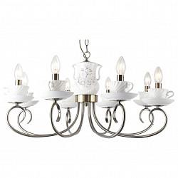 Подвесная люстра Arte LampБолее 6 ламп<br>Артикул - AR_A6380LM-8AB,Бренд - Arte Lamp (Италия),Коллекция - Teapot,Гарантия, месяцы - 24,Высота, мм - 370-770,Диаметр, мм - 730,Тип лампы - компактная люминесцентная [КЛЛ] ИЛИнакаливания ИЛИсветодиодная [LED],Общее кол-во ламп - 8,Напряжение питания лампы, В - 220,Максимальная мощность лампы, Вт - 40,Лампы в комплекте - отсутствуют,Цвет арматуры - бронза античная, белый с рисунком,Тип поверхности арматуры - матовый,Материал арматуры - керамика, металл,Возможность подлючения диммера - можно, если установить лампу накаливания,Форма и тип колбы - свеча ИЛИ свеча на ветру,Тип цоколя лампы - E14,Класс электробезопасности - I,Общая мощность, Вт - 320,Степень пылевлагозащиты, IP - 20,Диапазон рабочих температур - комнатная температура,Дополнительные параметры - способ крепления светильника к потолоку - на крюке<br>