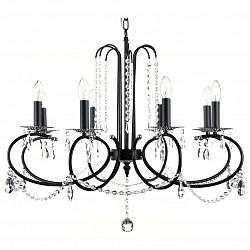 Подвесная люстра MaytoniБолее 6 ламп<br>Артикул - MY_DIA133-08-B,Бренд - Maytoni (Германия),Коллекция - Fermelle,Гарантия, месяцы - 24,Высота, мм - 620-+1020,Диаметр, мм - 750,Тип лампы - компактная люминесцентная [КЛЛ] ИЛИнакаливания ИЛИсветодиодная [LED],Общее кол-во ламп - 8,Напряжение питания лампы, В - 220,Максимальная мощность лампы, Вт - 60,Лампы в комплекте - отсутствуют,Цвет плафонов и подвесок - неокрашенные,Тип поверхности плафонов - прозрачный,Материал плафонов и подвесок - хрусталь,Цвет арматуры - серебро, черный,Тип поверхности арматуры - глянцевый, матовый,Материал арматуры - металл,Возможность подлючения диммера - можно, если установить лампу накаливания,Форма и тип колбы - свеча ИЛИ свеча на ветру,Тип цоколя лампы - E14,Класс электробезопасности - I,Общая мощность, Вт - 480,Степень пылевлагозащиты, IP - 20,Диапазон рабочих температур - комнатная температура,Дополнительные параметры - регулируется по высоте,  способ крепления светильника к потолку – на крюке<br>