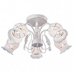Люстра на штанге Eurosvet5 или 6 ламп<br>Артикул - EV_71380,Бренд - Eurosvet (Китай),Коллекция - 70001,Гарантия, месяцы - 24,Высота, мм - 260,Диаметр, мм - 540,Тип лампы - компактная люминесцентная [КЛЛ] ИЛИнакаливания ИЛИсветодиодная [LED],Общее кол-во ламп - 5,Напряжение питания лампы, В - 220,Максимальная мощность лампы, Вт - 40,Лампы в комплекте - отсутствуют,Цвет плафонов и подвесок - белый с рисунком, неокрашенный,Тип поверхности плафонов - матовый, прозрачный,Материал плафонов и подвесок - стекло, хрусталь,Цвет арматуры - белый с золотой патиной,Тип поверхности арматуры - матовый,Материал арматуры - металл,Возможность подлючения диммера - можно, если установить лампу накаливания,Тип цоколя лампы - E14,Класс электробезопасности - I,Общая мощность, Вт - 200,Степень пылевлагозащиты, IP - 20,Диапазон рабочих температур - комнатная температура,Дополнительные параметры - способ крепления светильника к потолку - на монтажной пластине<br>