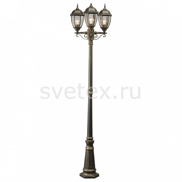 Фонарный столб MW-LightСветильники<br>Артикул - MW_804040703,Бренд - MW-Light (Германия),Коллекция - Фабур,Гарантия, месяцы - 24,Время изготовления, дней - 1,Ширина, мм - 570,Высота, мм - 2280,Выступ, мм - 500,Тип лампы - компактная люминесцентная [КЛЛ] ИЛИнакаливания ИЛИсветодиодная [LED],Общее кол-во ламп - 3,Напряжение питания лампы, В - 220,Максимальная мощность лампы, Вт - 100,Лампы в комплекте - отсутствуют,Цвет плафонов и подвесок - неокрашенный,Тип поверхности плафонов - прозрачный,Материал плафонов и подвесок - стекло,Цвет арматуры - старинная позолота,Тип поверхности арматуры - матовый,Материал арматуры - дюралюминий,Количество плафонов - 3,Тип цоколя лампы - E27,Класс электробезопасности - I,Общая мощность, Вт - 300,Степень пылевлагозащиты, IP - 44,Диапазон рабочих температур - от -40^C до +40^C,Дополнительные параметры - стиль Тиффани<br>