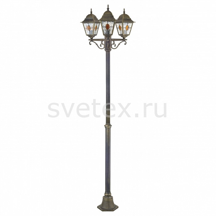 Фонарный столб FavouriteСветильники<br>Артикул - FV_1804-3F,Бренд - Favourite (Германия),Коллекция - Zagreb,Гарантия, месяцы - 24,Время изготовления, дней - 1,Высота, мм - 2080,Диаметр, мм - 610,Тип лампы - компактная люминесцентная [КЛЛ] ИЛИнакаливания ИЛИсветодиодная [LED],Общее кол-во ламп - 3,Напряжение питания лампы, В - 220,Максимальная мощность лампы, Вт - 100,Лампы в комплекте - отсутствуют,Цвет плафонов и подвесок - коньячный, неокрашенный,Тип поверхности плафонов - прозрачный,Материал плафонов и подвесок - стекло,Цвет арматуры - черный с золотой патиной,Тип поверхности арматуры - матовый, рельефный,Материал арматуры - металл,Количество плафонов - 3,Тип цоколя лампы - E27,Класс электробезопасности - I,Общая мощность, Вт - 300,Степень пылевлагозащиты, IP - 44,Диапазон рабочих температур - от -40^С до +40^C,Дополнительные параметры - стиль Тиффани<br>