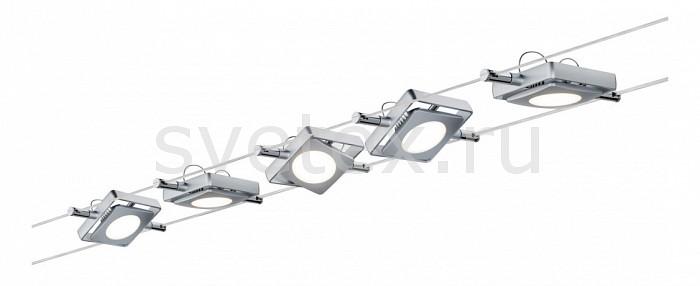 Комплект PaulmannСтрунные светильники<br>Артикул - PA_94108,Бренд - Paulmann (Германия),Коллекция - MacLed,Гарантия, месяцы - 24,Длина, мм - 10000,Ширина, мм - 160,Тип лампы - светодиодная [LED],Общее кол-во ламп - 5,Напряжение питания лампы, В - 220,Максимальная мощность лампы, Вт - 4,Цвет лампы - белый теплый,Лампы в комплекте - светодиодные [LED],Цвет плафонов и подвесок - хром,Тип поверхности плафонов - глянцевый,Материал плафонов и подвесок - металл,Цвет арматуры - хром,Тип поверхности арматуры - глянцевый,Материал арматуры - металл,Количество плафонов - 5,Цветовая температура, K - 3000 K,Световой поток, лм - 1000,Экономичнее лампы накаливания - В 6, 3 раза,Светоотдача, лм/Вт - 50,Класс электробезопасности - II,Общая мощность, Вт - 20,Степень пылевлагозащиты, IP - 20,Диапазон рабочих температур - комнатная температура,Дополнительные параметры - расстояние между струнами 160 мм<br>