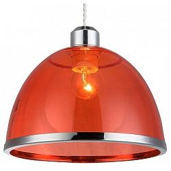 Подвесной светильник GloboДля кухни<br>Артикул - GB_15184,Бренд - Globo (Австрия),Коллекция - Carlo,Гарантия, месяцы - 24,Высота, мм - 1200,Диаметр, мм - 230,Тип лампы - компактная люминесцентная [КЛЛ] ИЛИнакаливания ИЛИсветодиодная [LED],Общее кол-во ламп - 1,Напряжение питания лампы, В - 220,Максимальная мощность лампы, Вт - 40,Лампы в комплекте - отсутствуют,Цвет плафонов и подвесок - красный с хромированной каймой,Тип поверхности плафонов - прозрачный,Материал плафонов и подвесок - акрил,Цвет арматуры - хром,Тип поверхности арматуры - глянцевый,Материал арматуры - металл,Возможность подлючения диммера - можно, если установить лампу накаливания,Тип цоколя лампы - E27,Класс электробезопасности - I,Степень пылевлагозащиты, IP - 20,Диапазон рабочих температур - комнатная температура,Дополнительные параметры - способ крепления к потолку - на монтажной пластине, регулируется по высоте<br>
