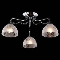 Потолочная люстра EurosvetНе более 4 ламп<br>Артикул - EV_76402,Бренд - Eurosvet (Китай),Коллекция - Оливия,Гарантия, месяцы - 24,Высота, мм - 265,Диаметр, мм - 435,Тип лампы - компактная люминесцентная [КЛЛ] ИЛИнакаливания ИЛИсветодиодная [LED],Общее кол-во ламп - 3,Напряжение питания лампы, В - 220,Максимальная мощность лампы, Вт - 60,Лампы в комплекте - отсутствуют,Цвет плафонов и подвесок - белый с неокрашенным рисунком,Тип поверхности плафонов - матовый,Материал плафонов и подвесок - стекло,Цвет арматуры - хром,Тип поверхности арматуры - глянцевый,Материал арматуры - металл,Возможность подлючения диммера - можно, если установить лампу накаливания,Тип цоколя лампы - E27,Класс электробезопасности - I,Общая мощность, Вт - 180,Степень пылевлагозащиты, IP - 20,Диапазон рабочих температур - комнатная температура,Дополнительные параметры - способ крепления светильника к потолку - на монтажной пластине<br>
