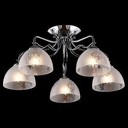 Потолочная люстра Eurosvet5 или 6 ламп<br>Артикул - EV_76401,Бренд - Eurosvet (Китай),Коллекция - Оливия,Гарантия, месяцы - 24,Высота, мм - 265,Диаметр, мм - 535,Тип лампы - компактная люминесцентная [КЛЛ] ИЛИнакаливания ИЛИсветодиодная [LED],Общее кол-во ламп - 5,Напряжение питания лампы, В - 220,Максимальная мощность лампы, Вт - 60,Лампы в комплекте - отсутствуют,Цвет плафонов и подвесок - белый с неокрашенным рисунком,Тип поверхности плафонов - матовый,Материал плафонов и подвесок - стекло,Цвет арматуры - хром,Тип поверхности арматуры - глянцевый,Материал арматуры - металл,Возможность подлючения диммера - можно, если установить лампу накаливания,Тип цоколя лампы - E27,Класс электробезопасности - I,Общая мощность, Вт - 300,Степень пылевлагозащиты, IP - 20,Диапазон рабочих температур - комнатная температура,Дополнительные параметры - способ крепления светильника к потолку - на монтажной пластине<br>