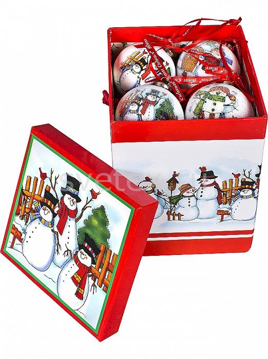 Елочный шар Mister ChristmasЕлочные игрушки<br>Артикул - MC_PMM-02-8,Бренд - Mister Christmas (Россия),Коллекция - PMM-02,Диаметр, мм - 60,Диаметр - 6 см,Цвет - белый, красный,Материал - папье-маше,Дополнительные параметры - На дне упаковки расположен механизм для воспроизведения новогодней мелодии<br>