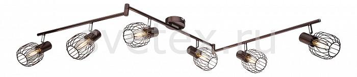 Спот GloboСпоты<br>Артикул - GB_54801-6,Бренд - Globo (Австрия),Коллекция - Akin,Гарантия, месяцы - 24,Длина, мм - 1450,Ширина, мм - 90,Выступ, мм - 220,Тип лампы - компактная люминесцентная [КЛЛ] ИЛИнакаливания ИЛИсветодиодная [LED],Общее кол-во ламп - 6,Напряжение питания лампы, В - 220,Максимальная мощность лампы, Вт - 40,Лампы в комплекте - отсутствуют,Цвет плафонов и подвесок - коричневый,Тип поверхности плафонов - матовый,Материал плафонов и подвесок - металл,Цвет арматуры - коричневый,Тип поверхности арматуры - матовый,Материал арматуры - металл,Количество плафонов - 6,Возможность подлючения диммера - можно, если установить лампу накаливания,Тип цоколя лампы - E14,Класс электробезопасности - I,Общая мощность, Вт - 240,Степень пылевлагозащиты, IP - 20,Диапазон рабочих температур - комнатная температура,Дополнительные параметры - способ крепления к потолку и стене - на монтажной пластине, поворотный светильник<br>