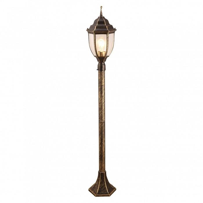 Наземный высокий светильник Arte LampСветильники<br>Артикул - AR_A3151PA-1BN,Бренд - Arte Lamp (Италия),Коллекция - Pegasus,Гарантия, месяцы - 24,Высота, мм - 1085,Диаметр, мм - 160,Тип лампы - компактная люминесцентная [КЛЛ] ИЛИнакаливания ИЛИсветодиодная [LED],Общее кол-во ламп - 1,Напряжение питания лампы, В - 220,Максимальная мощность лампы, Вт - 60,Лампы в комплекте - отсутствуют,Цвет плафонов и подвесок - неокрашенный,Тип поверхности плафонов - прозрачный,Материал плафонов и подвесок - стекло,Цвет арматуры - черный с золотой патиной,Тип поверхности арматуры - матовый,Материал арматуры - металл,Количество плафонов - 1,Тип цоколя лампы - E27,Класс электробезопасности - I,Степень пылевлагозащиты, IP - 44,Диапазон рабочих температур - от -40^C до +40^C<br>