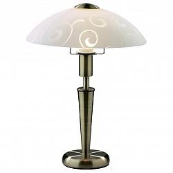 Настольная лампа Odeon LightСтеклянный плафон<br>Артикул - OD_2151_1T,Бренд - Odeon Light (Италия),Коллекция - Parma,Гарантия, месяцы - 24,Время изготовления, дней - 1,Высота, мм - 360,Диаметр, мм - 260,Тип лампы - компактная люминесцентная [КЛЛ] ИЛИнакаливания ИЛИсветодиодная [LED],Общее кол-во ламп - 1,Напряжение питания лампы, В - 220,Максимальная мощность лампы, Вт - 60,Лампы в комплекте - отсутствуют,Цвет плафонов и подвесок - белый с рисунком,Тип поверхности плафонов - матовый,Материал плафонов и подвесок - стекло,Цвет арматуры - бронза,Тип поверхности арматуры - глянцевый,Материал арматуры - металл,Тип цоколя лампы - E14,Класс электробезопасности - II,Степень пылевлагозащиты, IP - 20,Диапазон рабочих температур - комнатная температура<br>