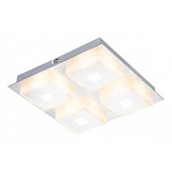 Накладной светильник GloboКвадратные<br>Артикул - GB_41111-4,Бренд - Globo (Австрия),Коллекция - Quadralla,Гарантия, месяцы - 24,Высота, мм - 40,Тип лампы - светодиодная [LED],Общее кол-во ламп - 4,Максимальная мощность лампы, Вт - 5,Лампы в комплекте - светодиодные [LED],Цвет плафонов и подвесок - белый,Тип поверхности плафонов - матовый,Материал плафонов и подвесок - полимер,Цвет арматуры - хром,Тип поверхности арматуры - глянцевый,Материал арматуры - металл,Возможность подлючения диммера - нельзя,Класс электробезопасности - I,Общая мощность, Вт - 20,Степень пылевлагозащиты, IP - 20,Диапазон рабочих температур - комнатная температура,Дополнительные параметры - способ крепления к потолку - на монтажной пластине<br>