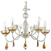 Подвесная люстра Lumion5 или 6 ламп<br>Артикул - LMN_3136_5,Бренд - Lumion (Италия),Коллекция - Amberra,Гарантия, месяцы - 24,Высота, мм - 400,Диаметр, мм - 540,Размер упаковки, мм - 170x450x250,Тип лампы - компактная люминесцентная [КЛЛ] ИЛИнакаливания ИЛИсветодиодная [LED],Общее кол-во ламп - 5,Напряжение питания лампы, В - 220,Максимальная мощность лампы, Вт - 60,Лампы в комплекте - отсутствуют,Цвет плафонов и подвесок - янтарный,Тип поверхности плафонов - прозрачный,Материал плафонов и подвесок - хрусталь,Цвет арматуры - белый с золотой патиной, янтарный,Тип поверхности арматуры - матовый,Материал арматуры - металл, стекло,Возможность подлючения диммера - можно, если установить лампу накаливания,Форма и тип колбы - свеча ИЛИ свеча на ветру,Тип цоколя лампы - E14,Класс электробезопасности - I,Общая мощность, Вт - 300,Степень пылевлагозащиты, IP - 20,Диапазон рабочих температур - комнатная температура,Дополнительные параметры - способ крепления к потолку - на крюке, указана высота светильника без подвеса<br>
