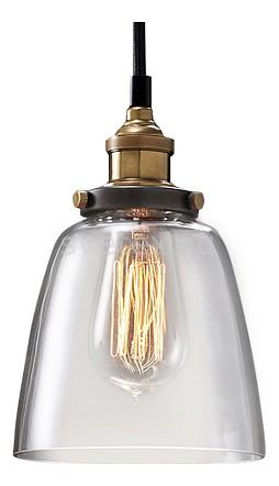 Подвесной светильник Restoration HardwareДля кухни<br>Артикул - RMR_8002,Бренд - Restoration Hardware (США),Коллекция - Филамен,Гарантия, месяцы - 12,Высота, мм - 300,Диаметр, мм - 250,Тип лампы - компактная люминесцентная [КЛЛ] ИЛИнакаливания ИЛИсветодиодная [LED],Общее кол-во ламп - 1,Напряжение питания лампы, В - 220,Максимальная мощность лампы, Вт - 60,Лампы в комплекте - отсутствуют,Цвет плафонов и подвесок - неокрашенный,Тип поверхности плафонов - прозрачный,Материал плафонов и подвесок - стекло,Цвет арматуры - латунь, черный,Тип поверхности арматуры - матовый,Материал арматуры - металл,Количество плафонов - 1,Возможность подлючения диммера - можно, если установить лампу накаливания,Тип цоколя лампы - E27,Класс электробезопасности - I,Степень пылевлагозащиты, IP - 20,Диапазон рабочих температур - комнатная температура,Дополнительные параметры - указана высота светильника без подвеса<br>