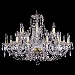 Подвесная люстра Bohemia Ivele CrystalБолее 6 ламп<br>Артикул - BI_1406_12_6_300_G,Бренд - Bohemia Ivele Crystal (Чехия),Коллекция - 1406,Гарантия, месяцы - 24,Высота, мм - 580,Диаметр, мм - 820,Размер упаковки, мм - 710x710x350,Тип лампы - компактная люминесцентная [КЛЛ] ИЛИнакаливания ИЛИсветодиодная [LED],Общее кол-во ламп - 18,Напряжение питания лампы, В - 220,Максимальная мощность лампы, Вт - 40,Лампы в комплекте - отсутствуют,Цвет плафонов и подвесок - неокрашенный,Тип поверхности плафонов - прозрачный,Материал плафонов и подвесок - хрусталь,Цвет арматуры - золото, неокрашенный,Тип поверхности арматуры - глянцевый, прозрачный, рельефный,Материал арматуры - металл, стекло,Возможность подлючения диммера - можно, если установить лампу накаливания,Форма и тип колбы - свеча ИЛИ свеча на ветру,Тип цоколя лампы - E14,Класс электробезопасности - I,Общая мощность, Вт - 720,Степень пылевлагозащиты, IP - 20,Диапазон рабочих температур - комнатная температура,Дополнительные параметры - способ крепления светильника к потолку - на крюке, указана высота светильника без подвеса<br>
