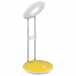 Настольная лампа GloboПолимерные<br>Артикул - GB_58386,Бренд - Globo (Австрия),Коллекция - Eloen I,Гарантия, месяцы - 24,Высота, мм - 355,Диаметр, мм - 126,Размер упаковки, мм - 130х50х310,Тип лампы - светодиодная [LED],Общее кол-во ламп - 1,Напряжение питания лампы, В - 220,Максимальная мощность лампы, Вт - 2.5,Лампы в комплекте - светодиодная [LED],Цвет плафонов и подвесок - белый, желтый,Тип поверхности плафонов - матовый,Материал плафонов и подвесок - полимер,Цвет арматуры - белый, желтый, хром,Тип поверхности арматуры - глянцевый, матовый, металлик,Материал арматуры - металл,Класс электробезопасности - II,Степень пылевлагозащиты, IP - 20,Диапазон рабочих температур - комнатная температура,Дополнительные параметры - поворотный светильник<br>