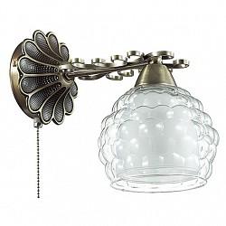 Бра LumionС 1 лампой<br>Артикул - LMN_3106_1W,Бренд - Lumion (Италия),Коллекция - Ampolla,Гарантия, месяцы - 24,Высота, мм - 220,Размер упаковки, мм - 260x170x190,Тип лампы - компактная люминесцентная [КЛЛ] ИЛИнакаливания ИЛИсветодиодная [LED],Общее кол-во ламп - 1,Напряжение питания лампы, В - 220,Максимальная мощность лампы, Вт - 60,Лампы в комплекте - отсутствуют,Цвет плафонов и подвесок - белый, неокрашенный,Тип поверхности плафонов - матовый, прозрачный, рельефный,Материал плафонов и подвесок - стекло,Цвет арматуры - бронза,Тип поверхности арматуры - матовый, металлик, рельефный,Материал арматуры - металл,Возможность подлючения диммера - можно, если установить лампу накаливания,Тип цоколя лампы - E14,Класс электробезопасности - I,Степень пылевлагозащиты, IP - 20,Диапазон рабочих температур - комнатная температура,Дополнительные параметры - способ крепления светильника на стене – на монтажной пластине, светильник предназначен для использования со скрытой проводкой<br>